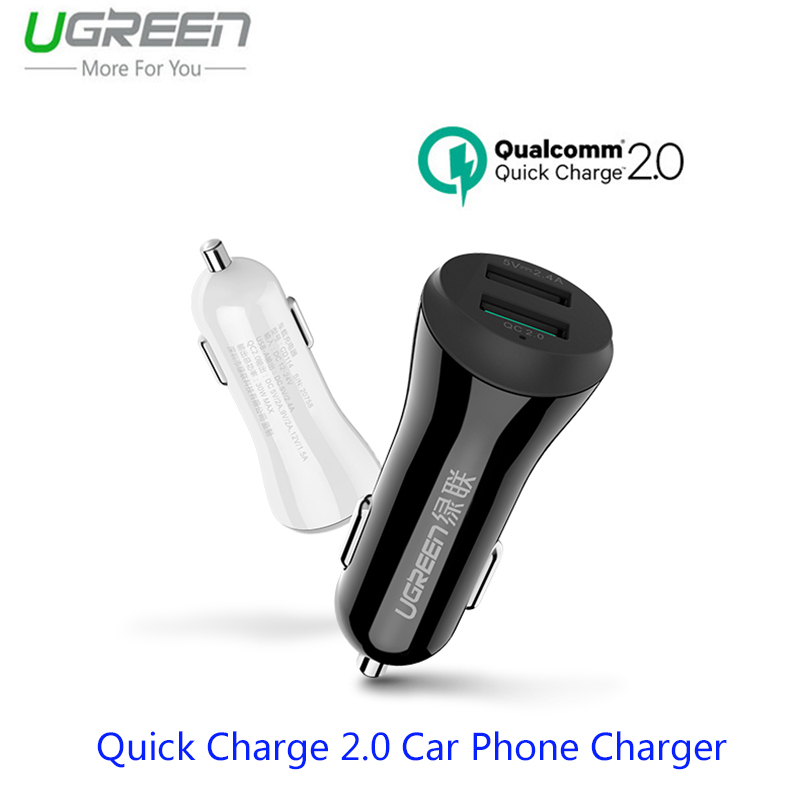 Ugreen Mi6 Quick Charge 2.0 Car Phone Charger For Xiaomi Mi6 Mi5 4 Note 2 3 Mix 2 Auto Adapter For Samsung S8 S7 S6 Edge Tablet