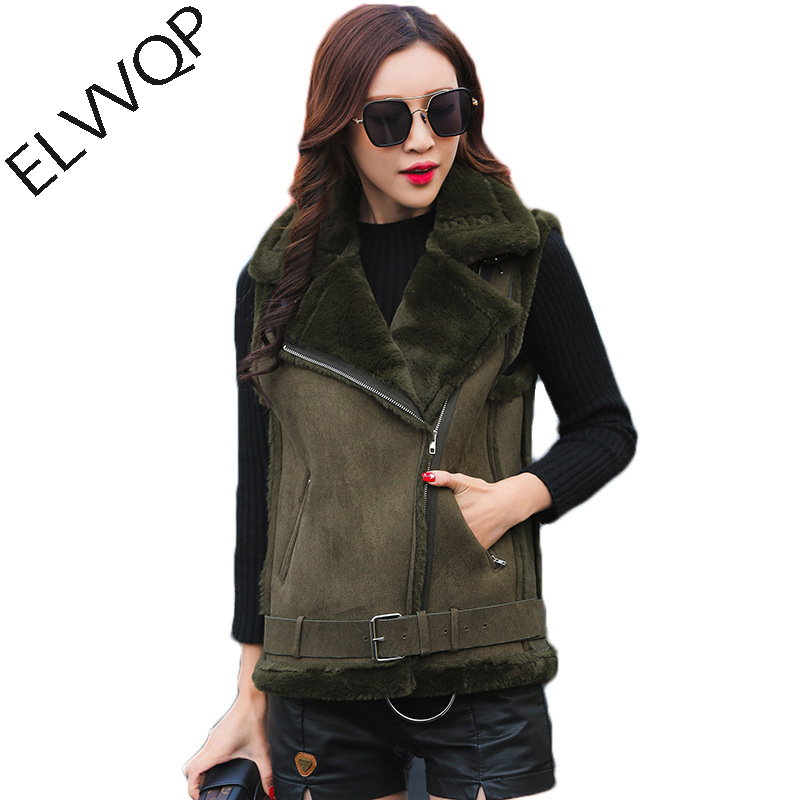 Winter Women Suede Vest coat 2018 New listing Short Sleeveless Vest Jacket thick lambswool Vests Coat