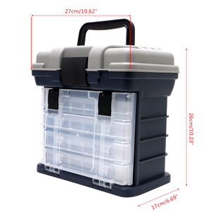 Image 5 - 釣りアクセサリー 5 重層釣具ボックスプラスチック製のハンドル釣りボックス鯉フィッシングツール【送料無料書留
