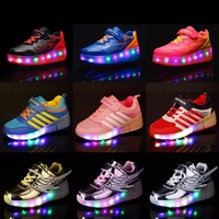 Kids Glowing Sneakers Girls Sneakers With Double Single Wheels Children Luminous Lighted Roller Skate Shoes For