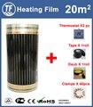 Película calefactora eléctrica 20m2 longitud 40 M anchura 0,5 M lejano infrarrojo piso calefacción películas con accesorios AC220V, almohadilla de calentamiento m2 220 W