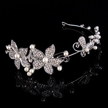 High Quality Handemade Women CZ Rhinestone Imitated Pearl Flower Bridal Wedding Hair Accessories Butterfly Tiara Crown Jewelry