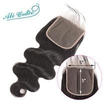 Ali Grace 5x5, бразильские волнистые человеческие волосы с закрытием для волос, натуральный цвет, бразильские волосы Remy
