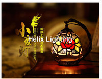 Free Shipping Tiffany Table Lamp Vintage Garden Grape Bedside Table Lamp Stained Glass Lamp Living Room