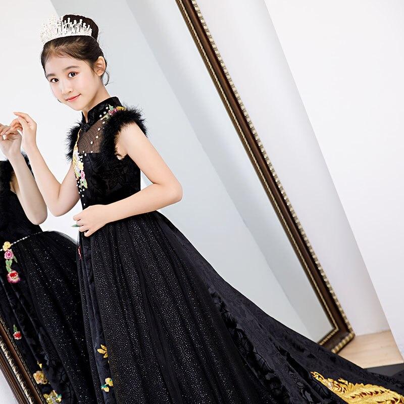 Luxe noir fleur fille robes longue traînée cristal robes de soirée paon broderie enfants reconstitution historique robe pour fête d'anniversaire