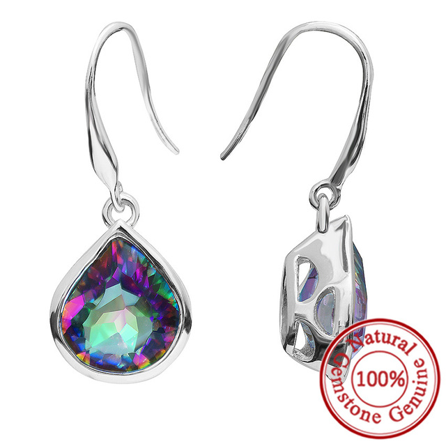 Brand New 8.6ct Rainbow Fire Mystic Topaz Dangle Earrings 925 Solid Sterling Silver Sets Luxury Gift For Women