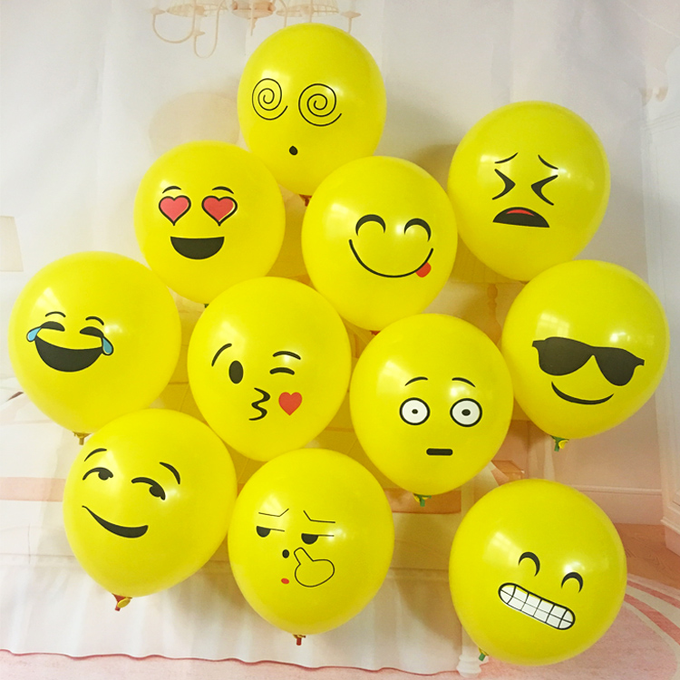 300pcs Latex emoji balloons 12 inches kids wedding / birthday party decoration special yellow balloons expression ball