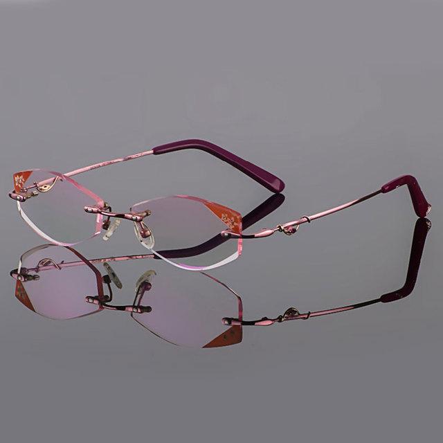 Phantom corte óculos de titânio do sexo feminino modelos de corte de diamante de cristal rosa óculos sem aro óculos de prescrição terminou