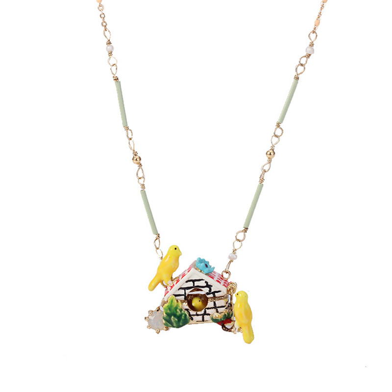 Warmhome Trendy Jewelry Enamel Glaze Cute Canary Bird Flip Cover House Gem Women Necklace цена