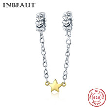 INBEAUT Cute Trendy 925 Sterling Silver Gold-color Star Heart Stackable Beads Safety Chain Charm fit s925 Bracelet for Women new diy 925 sterling silver heart carved high technology cute small robot charm beads fit trendy bracelet for women anniversary