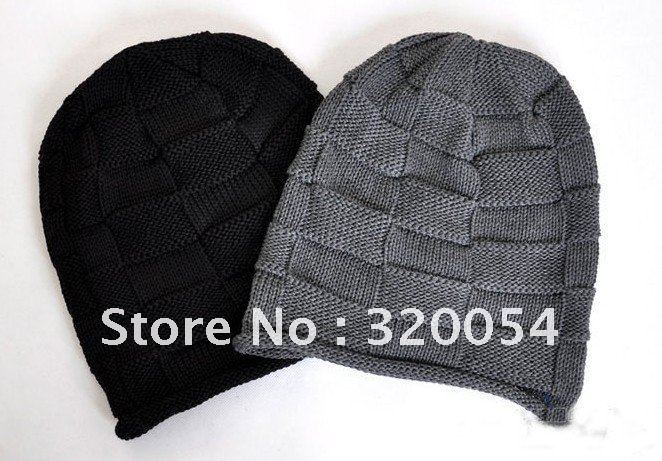 где купить 1pcs,2012 Korean Grid men shag line caps, winter fashion knitted hats for men and women, black and gray, free shipping по лучшей цене