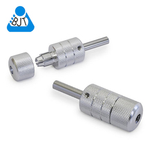 "2 Pack 1"" Aluminum Auto Lock Tattoo Grips Silver Color Tattoo Knurled Grip Tattoo Tip Needle"