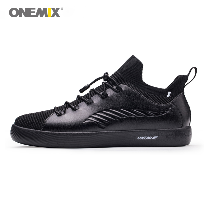 ONEMIX Black Classic Casual Shoes For Men Lightweight Trail Trainers Slip-On Design Outdoor Shoes