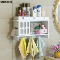 OUSSIRRO Bathroom racks wall mounted punch free suction wall paper towel racks wash stations storage cabinets