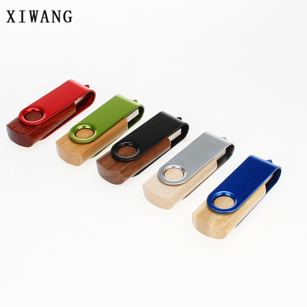 Xi Customizable Company Logo Wooden Rotatable Usb Flash Drive Memory Stick 4gb 8gb 16gb 32gb 64gb Custom Pendrive In Drives From