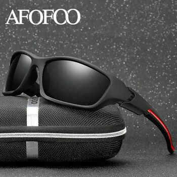 AFOFOO الرجال الاستقطاب النظارات الشمسية العلامة التجارية تصميم الرجال القيادة نظارات شمسية الذكور مربع للرؤية الليلية نظارات نظارات UV400 ظلال