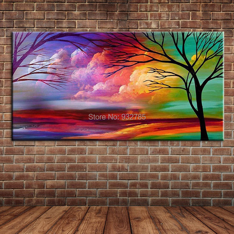 Us 20 59 29 Off Hand Painted Modern Abstract Art Colourful Clouds And Trees Oil Painting On Canvas Wall Mural Picture Decoration For Bedroom No In
