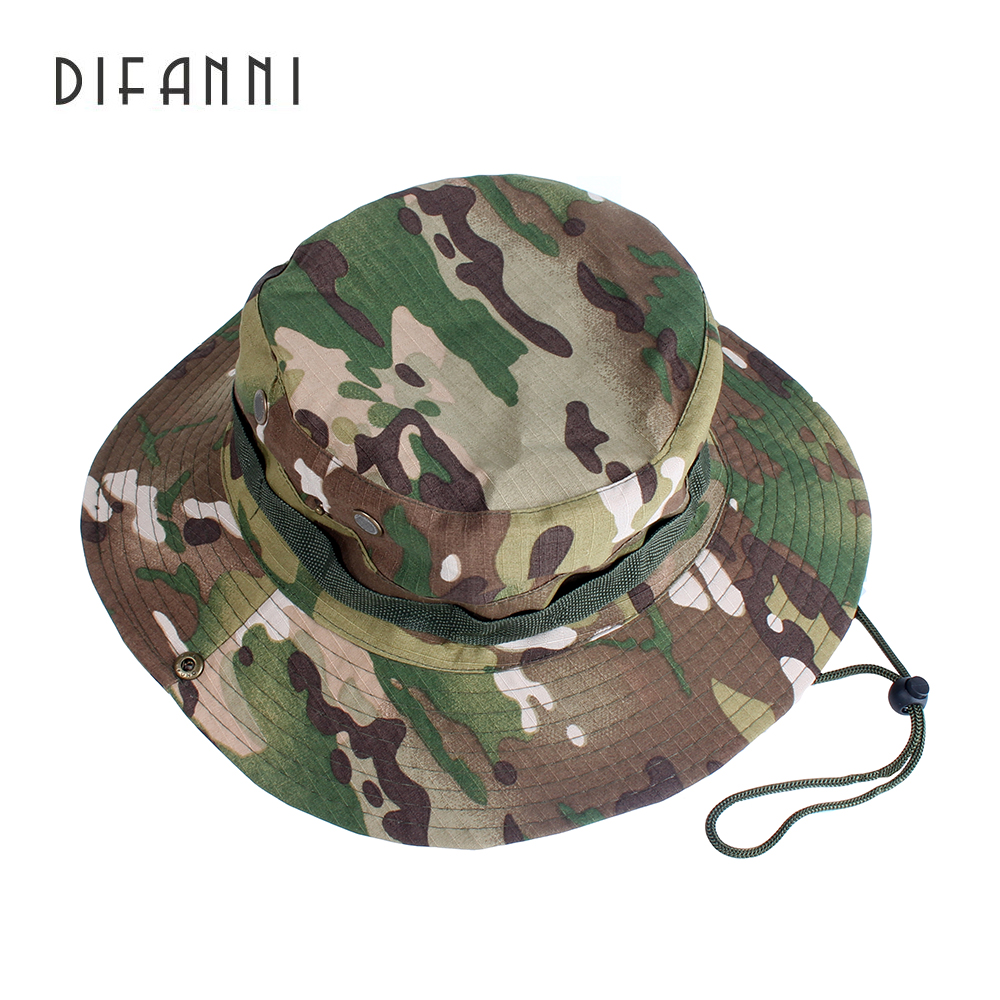 Difanni Tactical Boonie Hats Camouflage Bucket Hat Fisherman Cap Wide Brim  Hats Outdoor Camping Hunting Fishing Caps Sunhat flat 83449e8e83d8