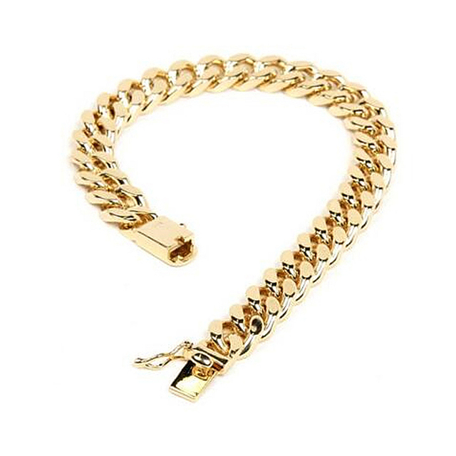 10mm 9 Inch Mens Gold Color Jewelry Hip Hop Bracelet Heavy Cuban Link Chain Hand