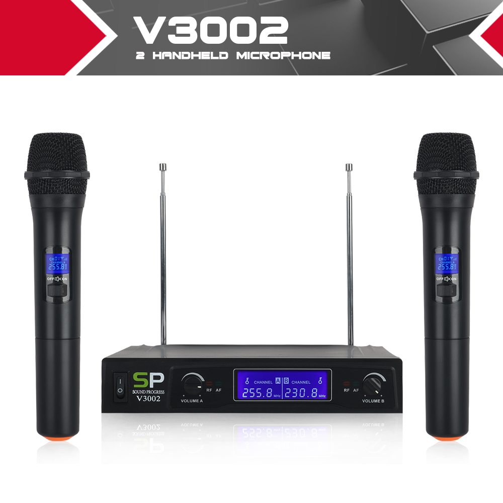 SOUNDPROGRESS V3002 VHF Wireless Microphone System with Hand Held mic double way channel design anti interference