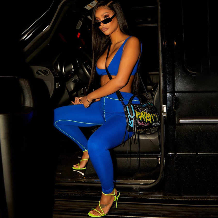 Kliou women two pieces set sexy v-neck crop top fitness sportswear bra tracksuit blue elastic high waist leggings 2019 outfit