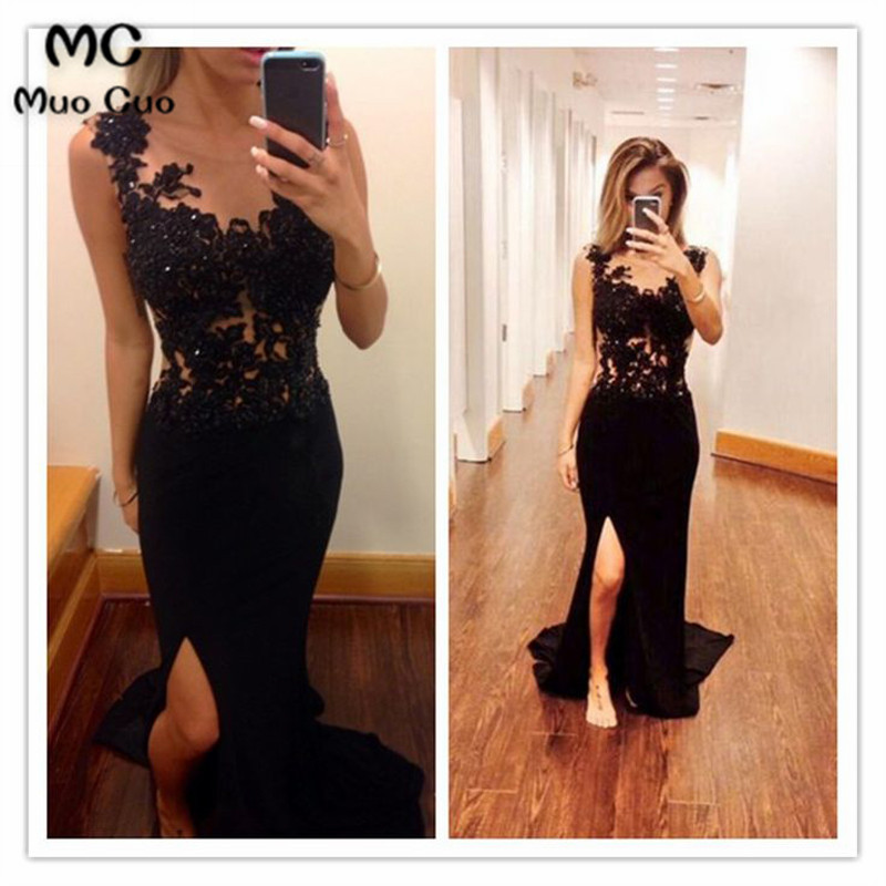 Elegant 2018 Black Mermaid   Evening     Dresses   Long with Lace Appliques Beaded Front Slit Formal   Evening   Party   Dress   Custom Made