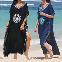 Embroidery Cotton Beach Cover up Saida de Praia Swimsuit Women Bikini cover up Tunics for Beach Pareo Sarong Beachwear #Q643