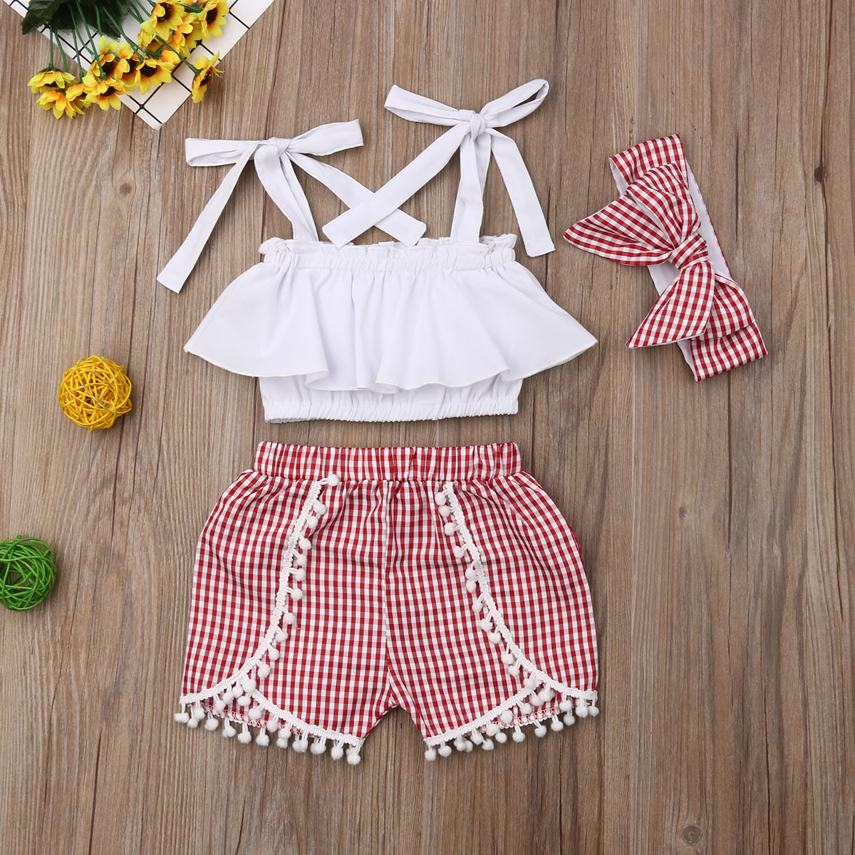 Newborn Toddler Baby kid Girl Top Dress+Headband+Pants Summer Outfit Clothes Set