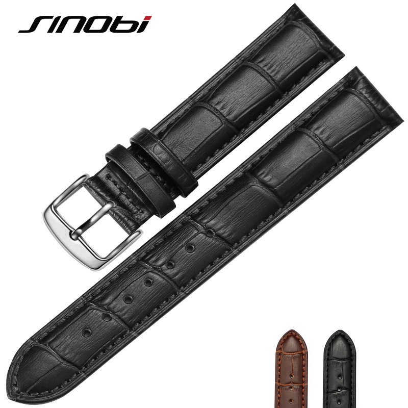 20 mm 22mm for sinobi Durable One Sweatband Watch Men cowhide Leather Strap Watchband Steel Buckle Wrist Women Watches Bands durable 20 24 26 27 28 mm soft watch bands for diesel watch dz7313 dz7322 dz7257 women s men s watch straps with sliver buckle