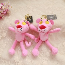 2019 Hot New Cute Pink Panther Pendant Plush Dolls Cartoon Leopard Toy Keychain Bag for Girls Children Gifts