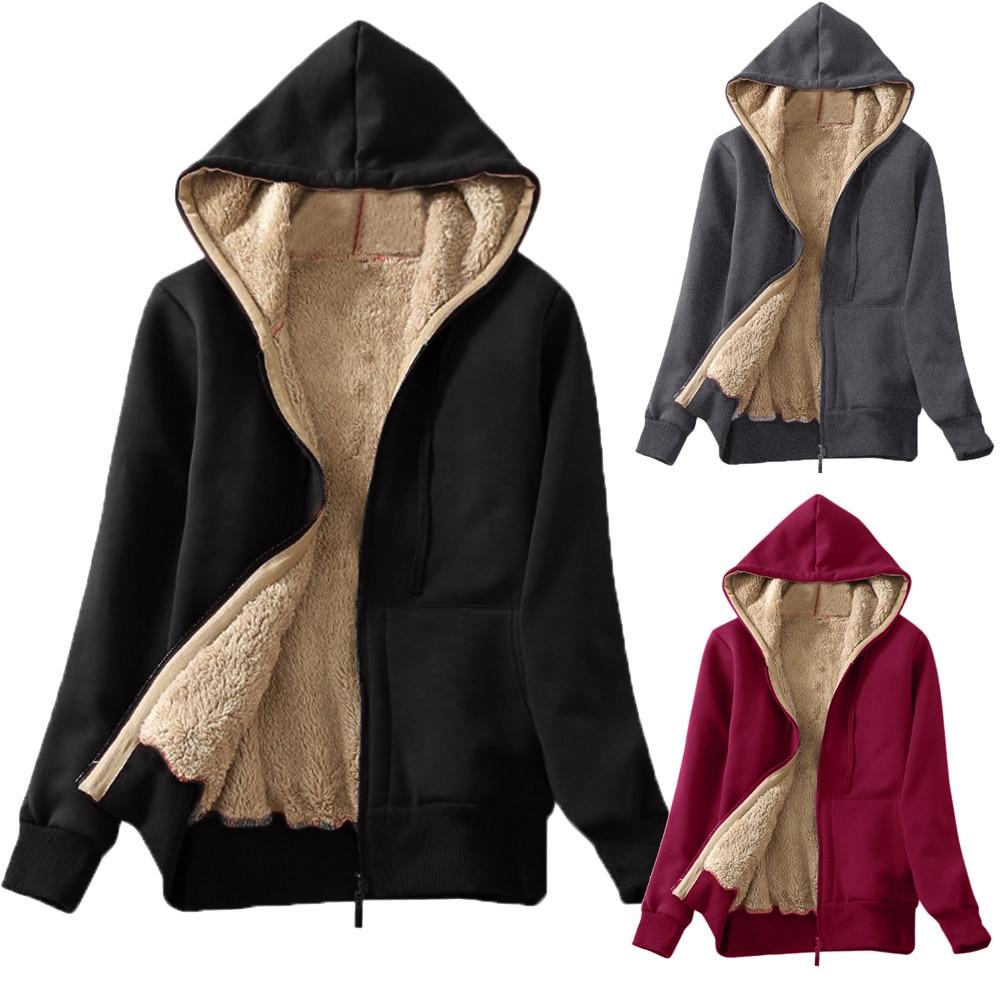 Women Basic Jackets Casual Winter Warm Female Long Sleeves Coats Autumn Lined Zip Up Hooded Sweatshirt Jacket Coat