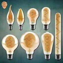 Lámparas Retro Vintage 4W 2200K espiral luz LED filamento bombilla A60 T45 ST64 G80 G95 G125 iluminación decorativa regulable lámpara de Edison