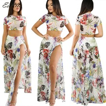Eskulla 2019 Summer Boho Style Women Floral Print O-neck Mesh Suits New Fashion High Split Party Female Two-piece Set