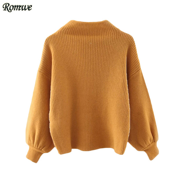 f9c47f6e ROMWE Womens Casual Pullover Sweaters For Autumn Ladies Plain Turtleneck Ribbed  Long Lantern Sleeve Loose Knitwear