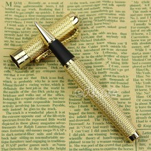 Exquisite Noblest Jinhao 1200 Dragon clip Roller Ball Pen Complete Golden dropshipping luxury jinhao roller ball pen hollow steel golden dragon and phoenix married couple gift