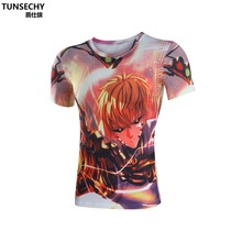 Moto New men and women TUNSECHY brand lycra compression cartoon prints O – neck boy hip-hop 3 d animation T-shirt with short sle
