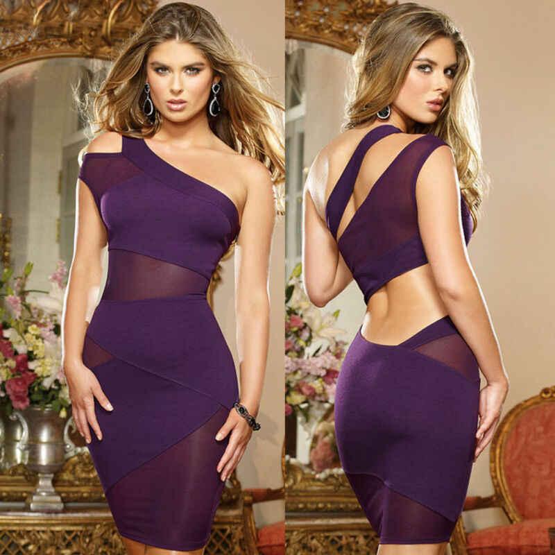 2019 heißer Frauen Damen Sexy Kleid Eine Schulter Bodycon Mesh Abend Party Bleistift Club Mini Kleid