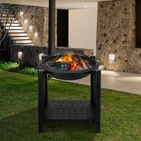 Outdoor Four Feet Iron Brazier 22 Backyard Poolside Garden Wood Burning Fire Pit Decoration With A Shelf