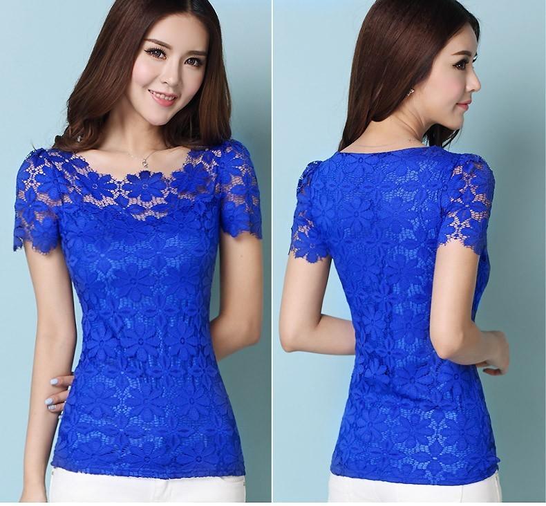 HTB1xCohHXXXXXXGaFXXq6xXFXXXA - Short Sleeve Tee Shirt Top Clothing Lace Blouse Sexy Floral