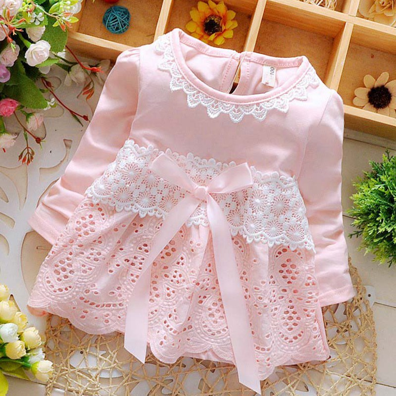 Spring Long Sleeve Lace Bow Baby Party Birthday girls kids Children Cotton dresses, princess infant Dress Vestido S2725 2017 fashion summer hot sales kid girls princess dress toddler baby party tutu lace bow flower dresses fashion vestido