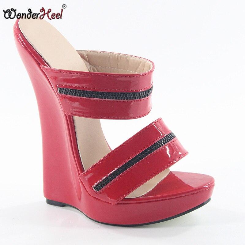 Cm Défilé Wonderheel Femmes Fétiche Plate forme Sur Haute Wedge Mode Ultra Talon Sandales Pu Brevet Rouge De Sexy 18 Slip 50Z0xrqa