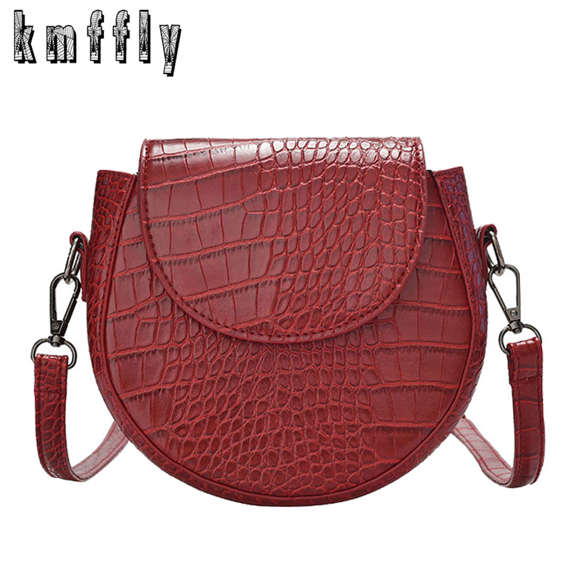 Fashion Lady Small Round Bag 2019 New High Quality Leather Women Crossbody Bags Crocodile Pattern Women Shoulder Messenger Bag