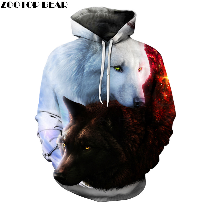 Fashion Hot Sale Wolf 3D Hoodies Brand Men Sweatshirts Drop Ship Quality Plus Size 6xl Pullover Novelty Streetwear Casual Coat