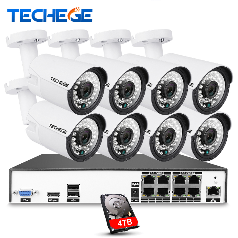 Techege H.265 8CH CCTV Surveillance Kit 4MP Security Camera System Video Output Kit Home Outdoor CCTV System APP Remote View
