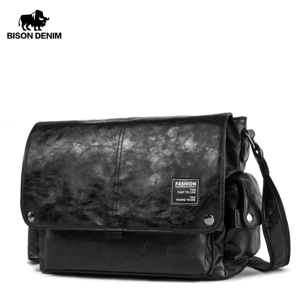 BISON DENIM Leather Crossbody Bag Men Big Capacity PU Messenger Bags Male Men Fashion Casual Travel Male Satchels Bags N2830 очки солнцезащитные женские fabretti цвет черный серебристый e282043 1g