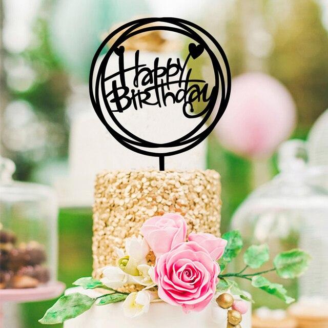 Round Happy Birthday Cake Topper Acrylic DIY Cupcake Smash Candle Alternative Party Handmade Stick Newest