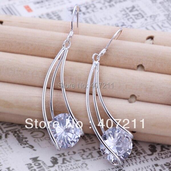 Wholesale 925 Sterling Silver CZ Earrings,Zircon Drop Earrings,Fashion jewelery wholesale.silver pendant,Freeshipping