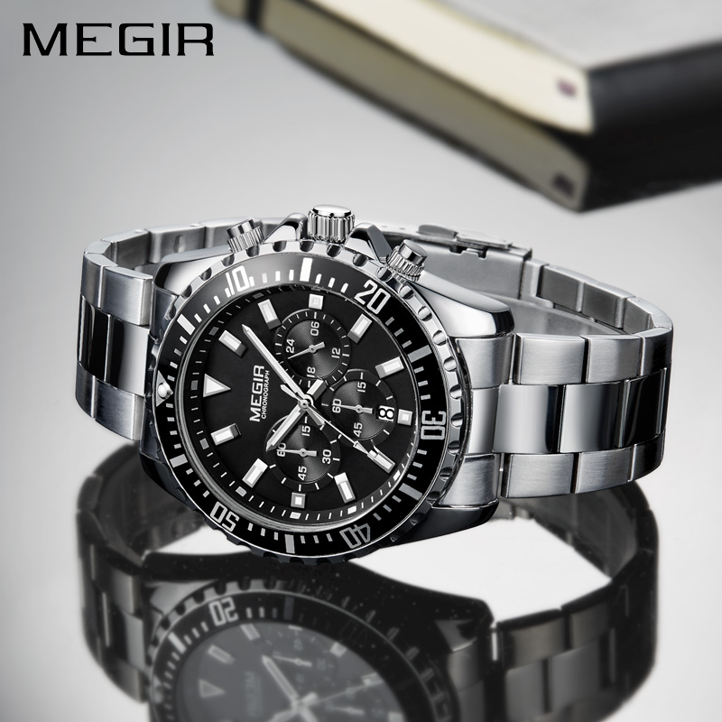 MEGIR Watch Men Fashion Sport Quartz Clock Mens Watches Top Brand Luxury Full Steel Business Waterproof Watch Relogio Masculino