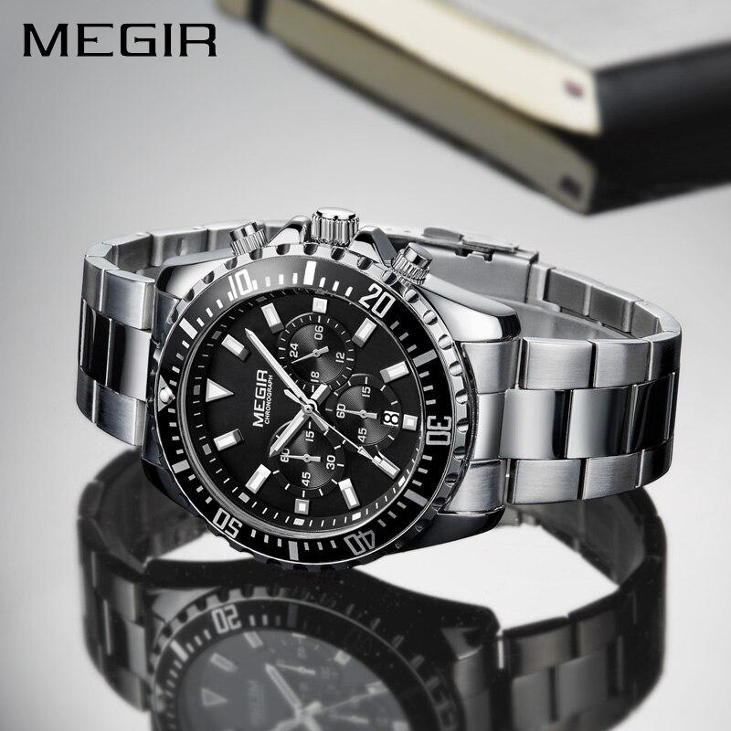 c906ac48121 MEGIR Relógio Dos Homens Do Esporte Da Forma Relógio de Quartzo Mens Relógios  Top Marca de Luxo Completa Steel Business Relógio À Prova D  Água Relogio  ...