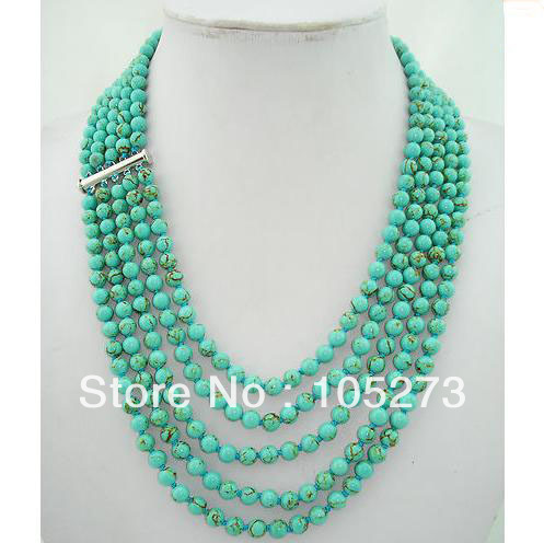 Charming 5 Rows 20-24'' 8MM Round Shaper Genuine Blue Color Turquoise Beads Gem Stone Necklace Fashion Jewelry Free Shipping